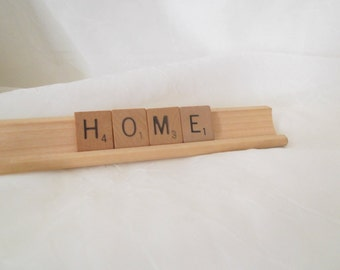 Vintage Scrabble Letter Sign Home Letters With Wooden Rack Farmhouse Decor Home & Living Home Decor