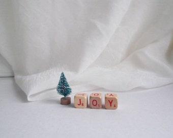 JOY Sign Joy Scrabble Letters Vintage Letter Cubes Farmhouse Christmas Decor Joy Decoration Scrabble Word Sign
