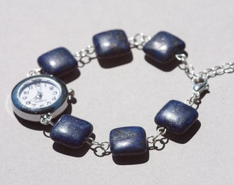 Lapis lazuli geometric bracelet watch, womens dark blue beaded watch, womens watch bracelet