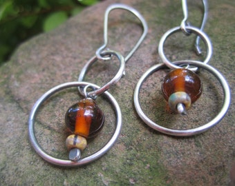 Sterling Silver  and  Amber Glass Bead Earrings