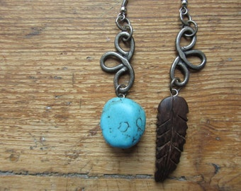 Asymmetrical Mismatched Earrings, Upcycled Charm Earrings, Wooden Feather Earrings, Native American Inspired, Tribal Hippie Rustic Jewelry