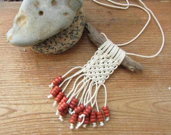 Beach Driftwood Macrame Necklace, Reclaimed Wood Jewelry, Surfer Necklace, Island Girl, Boho Macrame Pendant, Nida Lithuania, Eco Friendly
