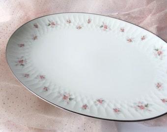 Serving Platter Noritake Mabel Pink Blue Rose Serving Platter - Lovely Vintage