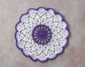 Purple Decor Crochet Lace Doily, Easter Table Decoration, Violet and White, New