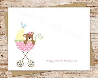 teddy bear carriage baby girl thank you cards - set of 8 - folded personalized stationery, stationary, note cards, notecards - baby stroller