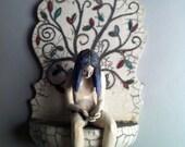 ceramic sculpture, figurative, woman, tree of life, raku, wall art