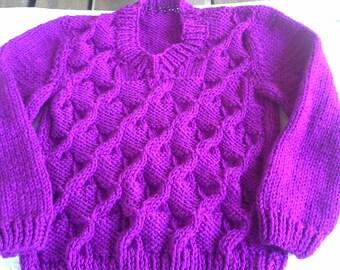 Handknitted Childs Boy Girl V Neck Pullover Sweater