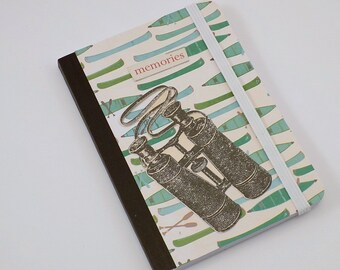 Mini Notebook Summer Memories Design Up-cycled Decorated Mini Composition Notebook Camping or Canoeing Notebook