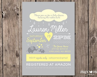 Baby Shower Annoucement Invitation, Made to order, Custom  - 5x7in