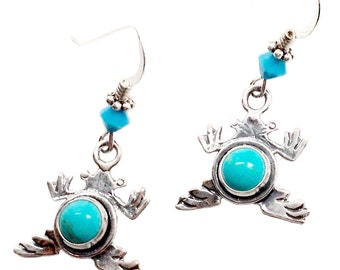Turquoise sterling silver frog earrings