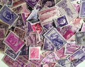 Shades of Purple and Pink Vintage Worldwide Off Paper Used Postage Stamps, Foreign Ephemera Stamps, Philatelic