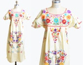 Vintage 70s ETHNIC Floral Embroidered Dress / 1970s Yellow Boho Midi Dress