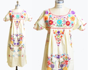 70s ETHNIC Floral Embroidered Dress / 1970s Yellow Boho Midi Dress
