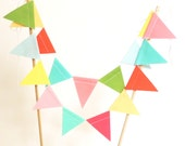 Cake Topper Banner, Solid Colored Pink, Mint, Coral Party Cake Bunting, Fabric Pennant Flags, Wedding, Birthday Cake, Baby Shower Garland
