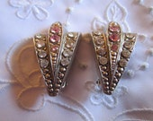 Vintage Arrow Shaped Clip On Earrings with Clear and Pink Faceted Rhinestones