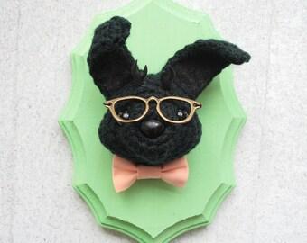 Faux Taxidermy Jackalope Nerd, Black Bunny with Bowtie