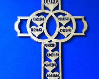 Medium Marriage Cross - Golden Oak - Open Back