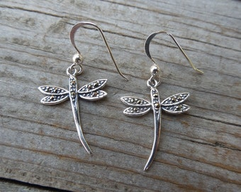 Dragonfly earrings in sterling silver with marcasite