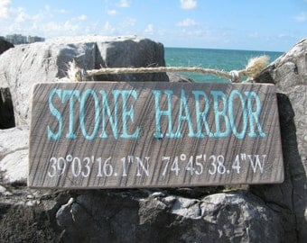 Custom Beach Latitude Longitude Sign -custom beach sign, Hand Made Vintage Wooden, rustic beach signs, coastal decor, custom beach signs