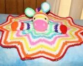 Handcrafted Crochet Rainbow Zebra Lovey