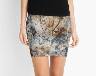 Pencil Skirt Botanical Nature Artist Designed Print. Size M MEDIUM US6-8 UK10-12 AUS8-10. Blue grey Gray brown abstract.