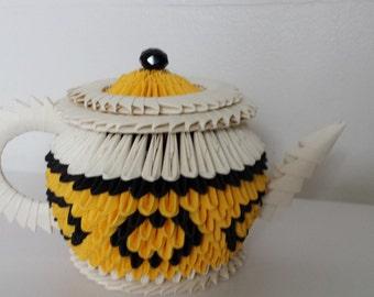 3D origami yellow teapot
