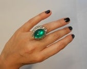 Bet It All On The Cocktail Hour - 1950s Huge Vendôme Cocktail Ring in Green w/Rhinestones - Adjustable