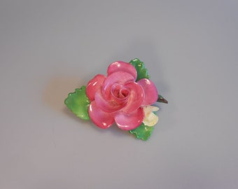 A Rose of England - Vintage 1950s Staffordshire China Petite Rose Flower Brooch Pin - Made in England