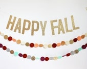Happy Fall gold glitter banner
