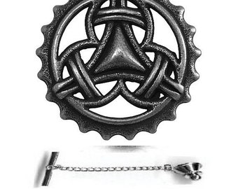 Celtic Tri Loop Tie Tack Sterling Silver Free Shipping