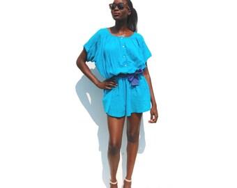 SALE!!!!!!!!!!!! Aqua loose short sleeve beach romper with royal blue waist tie 1990s 90s VINTAGE