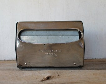 Vintage Black & Chrome Napkin Dispenser // Aluminum // Restaurant Style