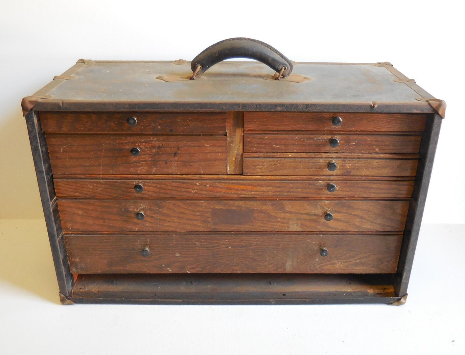 Antique Wood Machinist Tool Chest 8 Drawer Industrial
