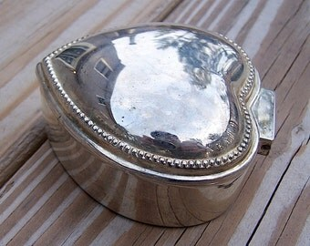 Silver Colonial Heart Shaped Trinket Jewelry Box with Red Cloth Interior and Traditional Hammered Detailing
