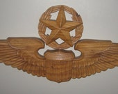 """Air Force Command PLAQUE Carved Wood Aviator Wings 31"""" WALL PLAQUE"""