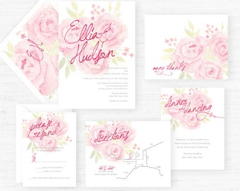 The Charlotte Collection | Sample Wedding Invitation | Hand-Painted Watercolor Wedding Invitations
