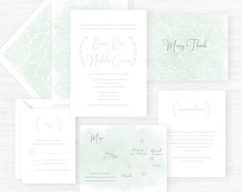 The Emma Rose Collection | Sample Wedding Invitation | Hand-Painted Watercolor Wedding Invitations