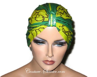 Metallic Green Chemo Turban, Yellow, Chemo Turbin, Cancer Turban, Women's, Fashionable Chemo Turban, Hat, Chemo Cap, Fashionable, Small