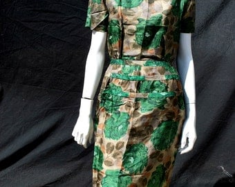 Vintage 60's floral dress silk MAD MEN style bodycon cocktail party dress sM by thekaliman
