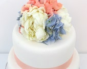 Wedding Cake Topper - Coral, Ocean Blue Hydrangea, Ivory Peony Silk Flower Cake Topper Shell Accents, Wedding Cake Flowers, Beach Wedding