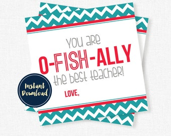 O-Fish-Ally Tags, Best Teacher Tag, Teacher Gift Tags, Teacher Printable INSTANT DOWNLOAD