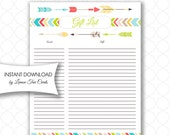Tribal Baby Shower Gift List, instant download, neutral gender gift record, tribal birthday party gift list, printable tribal gift list