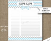 Blue Bow Tie Baby Shower Gift List INSTANT download printable gift list DIY digital boy baby shower, blue gray bowtie baby shower