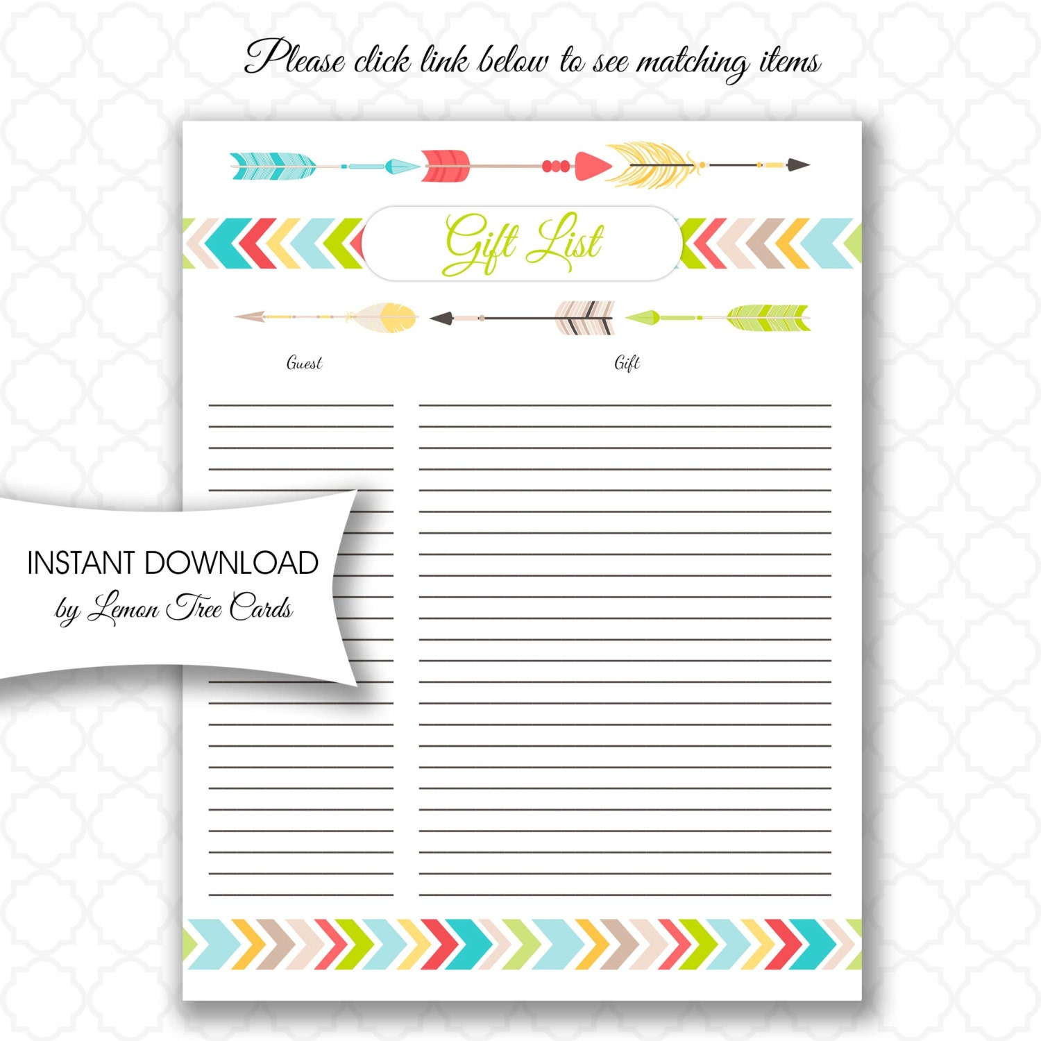 Bridal Shower Gift Record Template : Tribal Baby Shower Gift List instant download neutral gender