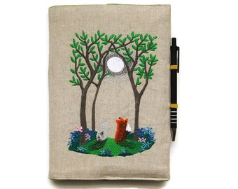A6 notebook and pen, gift set, reusable notebook cover, embroidered linen woodland Summer moonlight scene with a fox and cat.