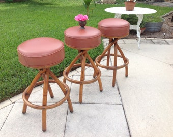TWISTED BAMBOO STOOLS Mid Century Modern Swivel Stools / On Sale Set of 3 Stools / 31 Inches Tall Mid Century Style at Retro Daisy Girl