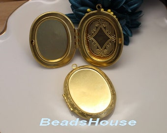 2pcs (30 x 40mm) Raw Brass locket Cameo Setting Pendant.,Nickel Free