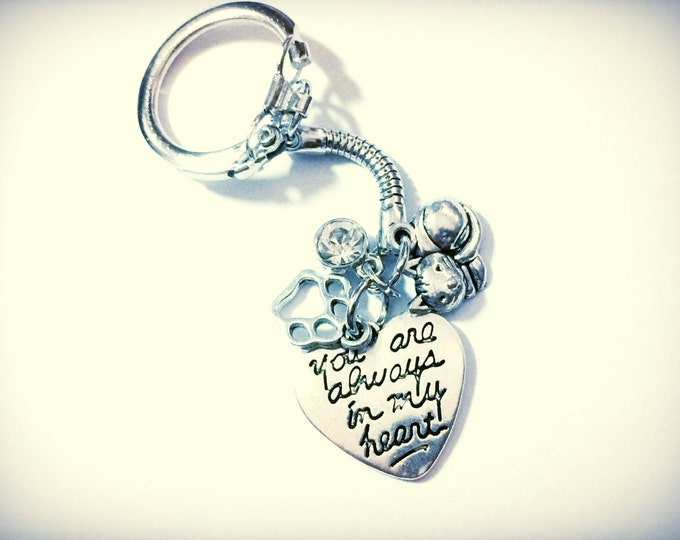 Cat Memorial, Always In My Heart, Loss of Cat Memoriam Keychain, with four charms, custom gem color available