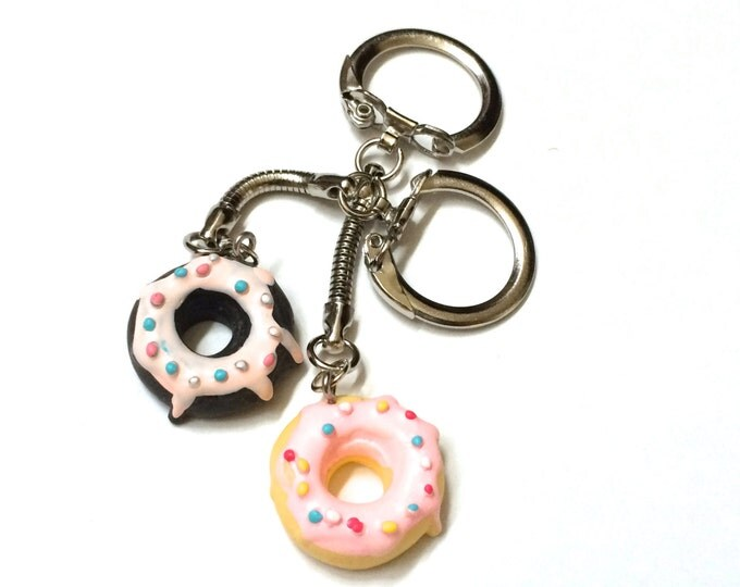 Donut Keychains, Doughnut Keychains, Chocolate and Vanilla Doughnut Keychains for best friends or couples, set of two, kawaii miniature food