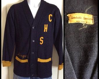 Vintage 1940's thin knit school work Cardigan Sweater looks size Medium Navy Blue Yellow